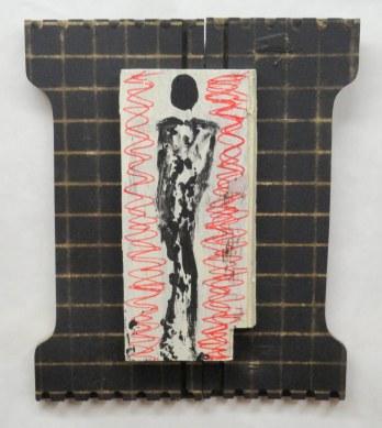 Self-Portrait:Panic Attack~Paint on Wood~13X1X16