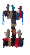 Glove Family Tree~Found Gloves on Wood~21X4X37