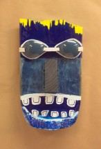 Mask w/Goggles~Found Objects,Paint~8X3X14