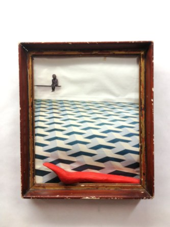 The Red Slug~Found Objects,Paint~8X1X10