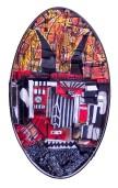 Self-Portrait- Oval_Found Objects,Paint_14X2X24