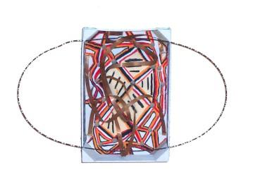 Orbit Box I~Found Objects, Paint~16.5X4.5X11.5