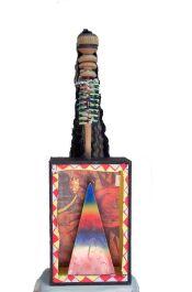 Voodoo Box~Found Objects, Paint~7x5x22