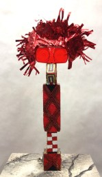 Tall Red Bird~Found Objects,Paint~2X3X18