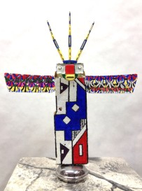Crowned Figure w/Wings~Found Objects,Paint~11X3X15