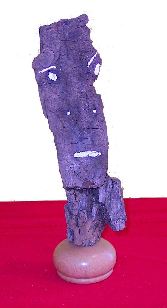Bark Figure~Found Wood~Paint~3x10