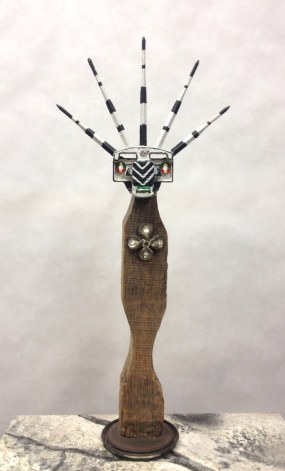 Crowned Figure I~Found Objects,Paint~3X15