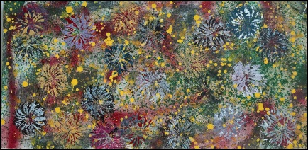 Rectangular Chrysanthemum~Mixed Media on Canvas~30X15