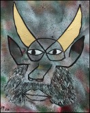 Self-Portrait with Golden Horns~Mixed Media on Canvas~16x20